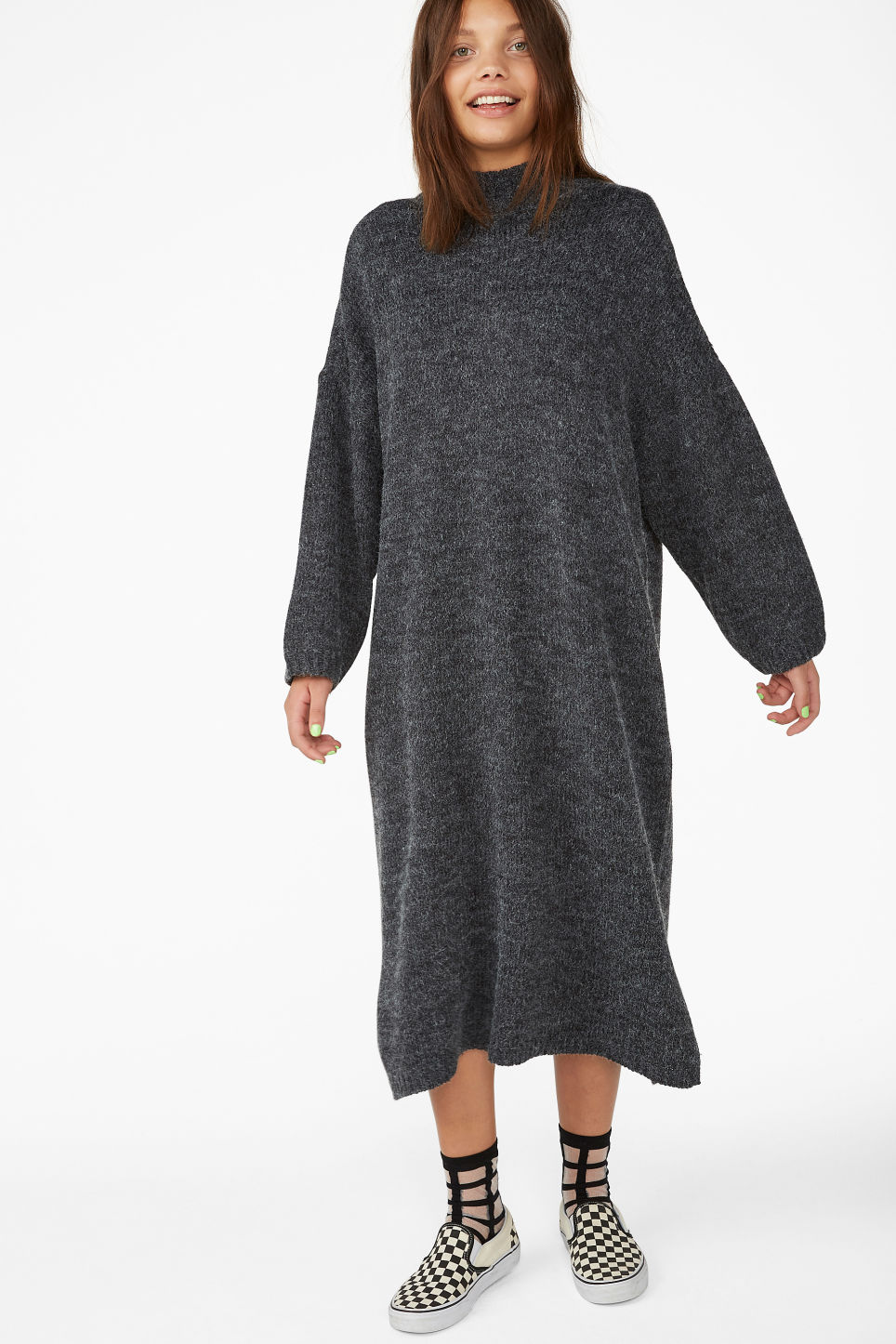 Model front image of Monki knitted dress in black