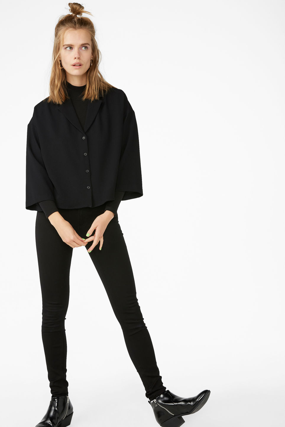 Model front image of Monki crepe blouse in black