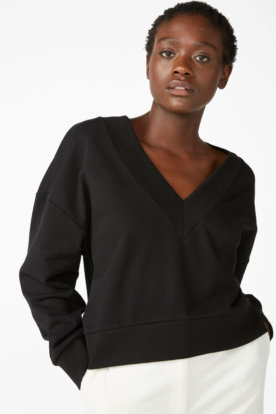 Model front image of Monki v-neck sweatshirt in black
