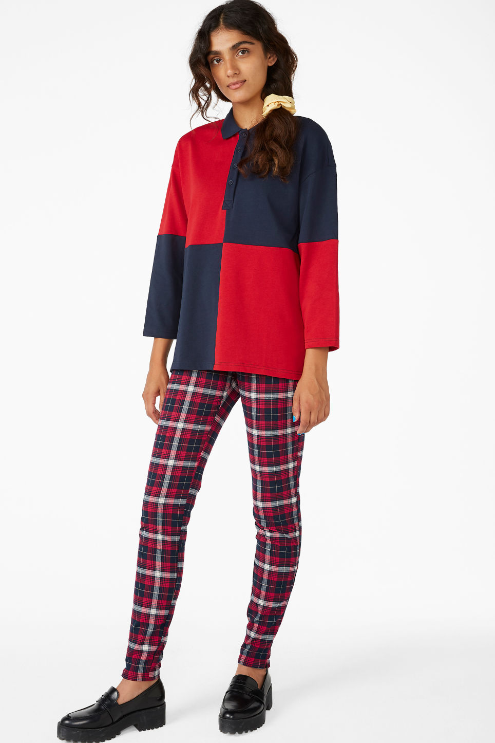 Model front image of Monki long-sleeved polo shirt in red