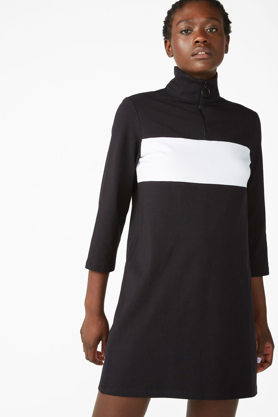 Model front image of Monki colour block dress in black