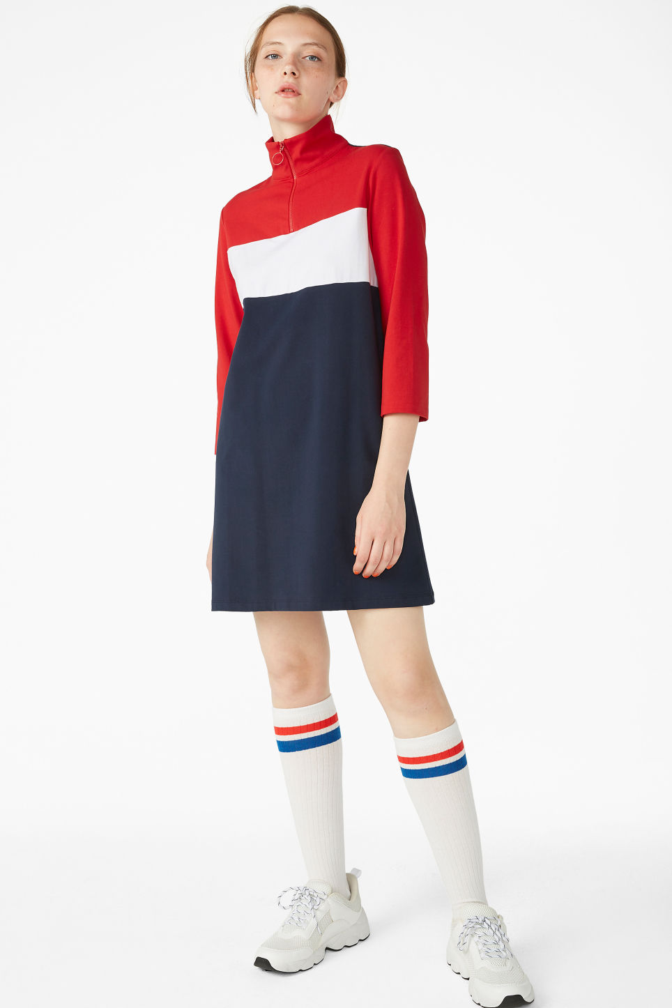 Model front image of Monki colour block dress in blue