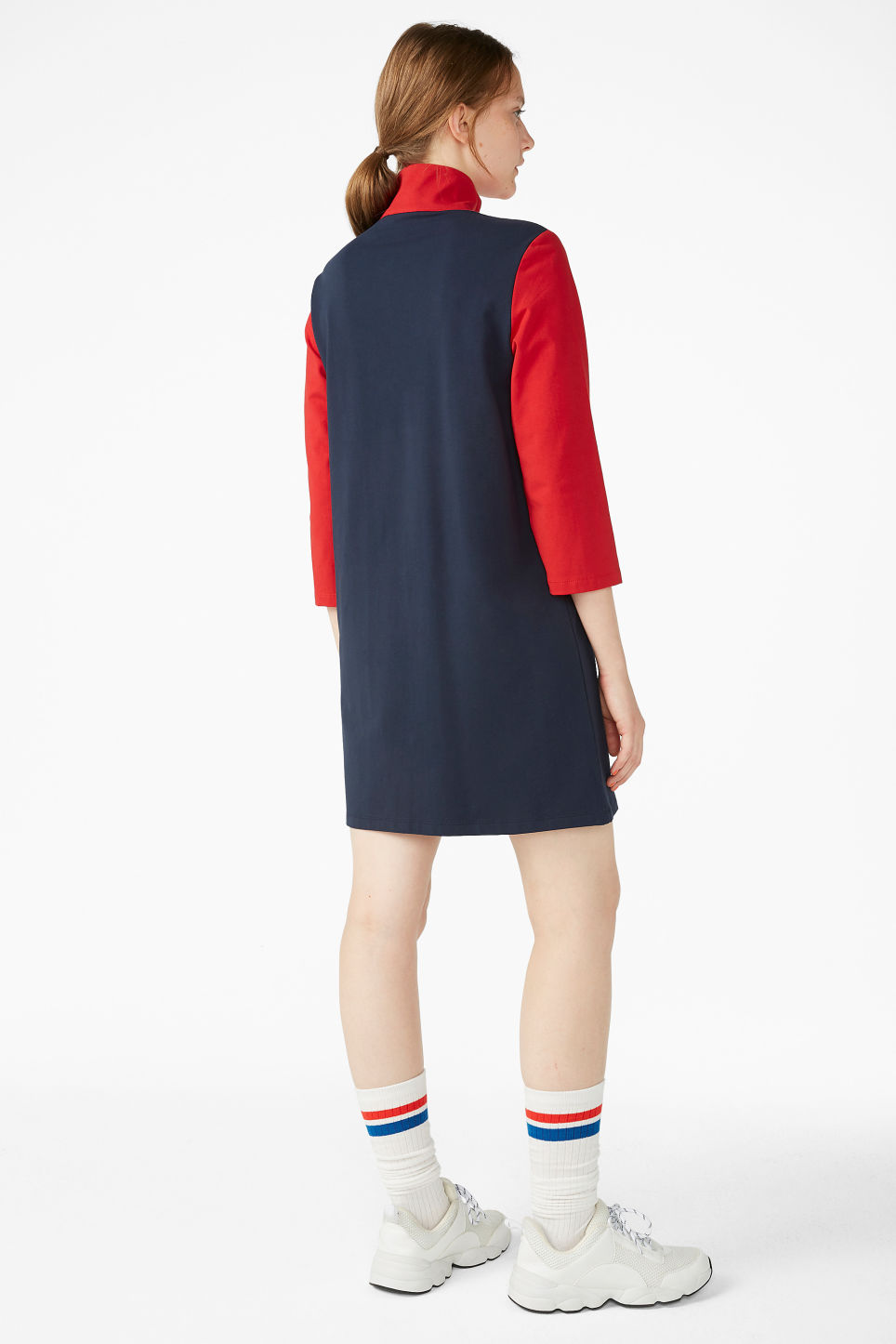 Model back image of Monki colour block dress in blue