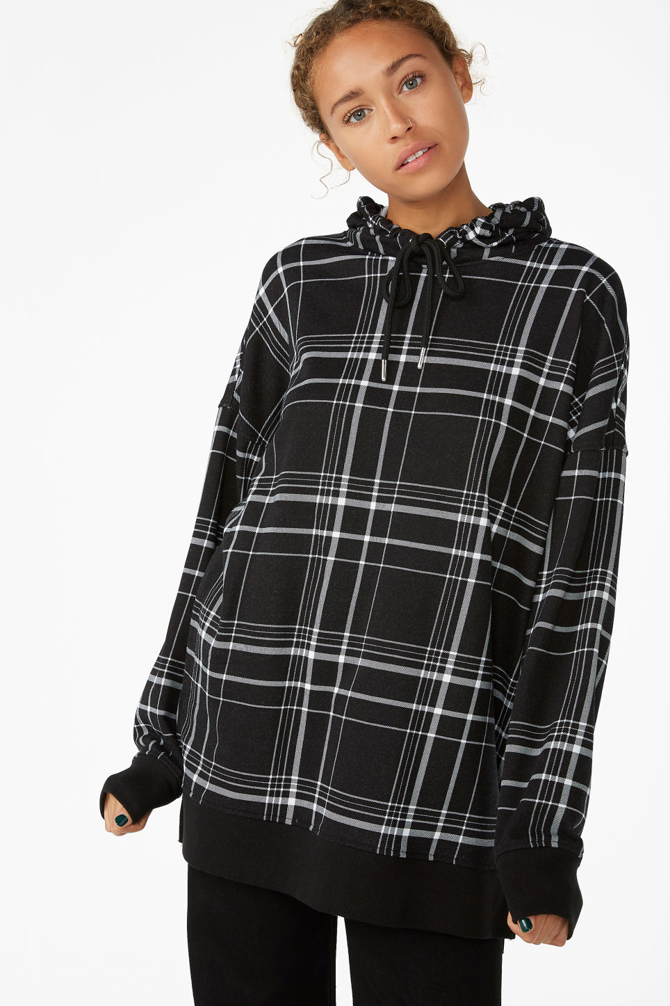 Model front image of Monki checked hoodie in black