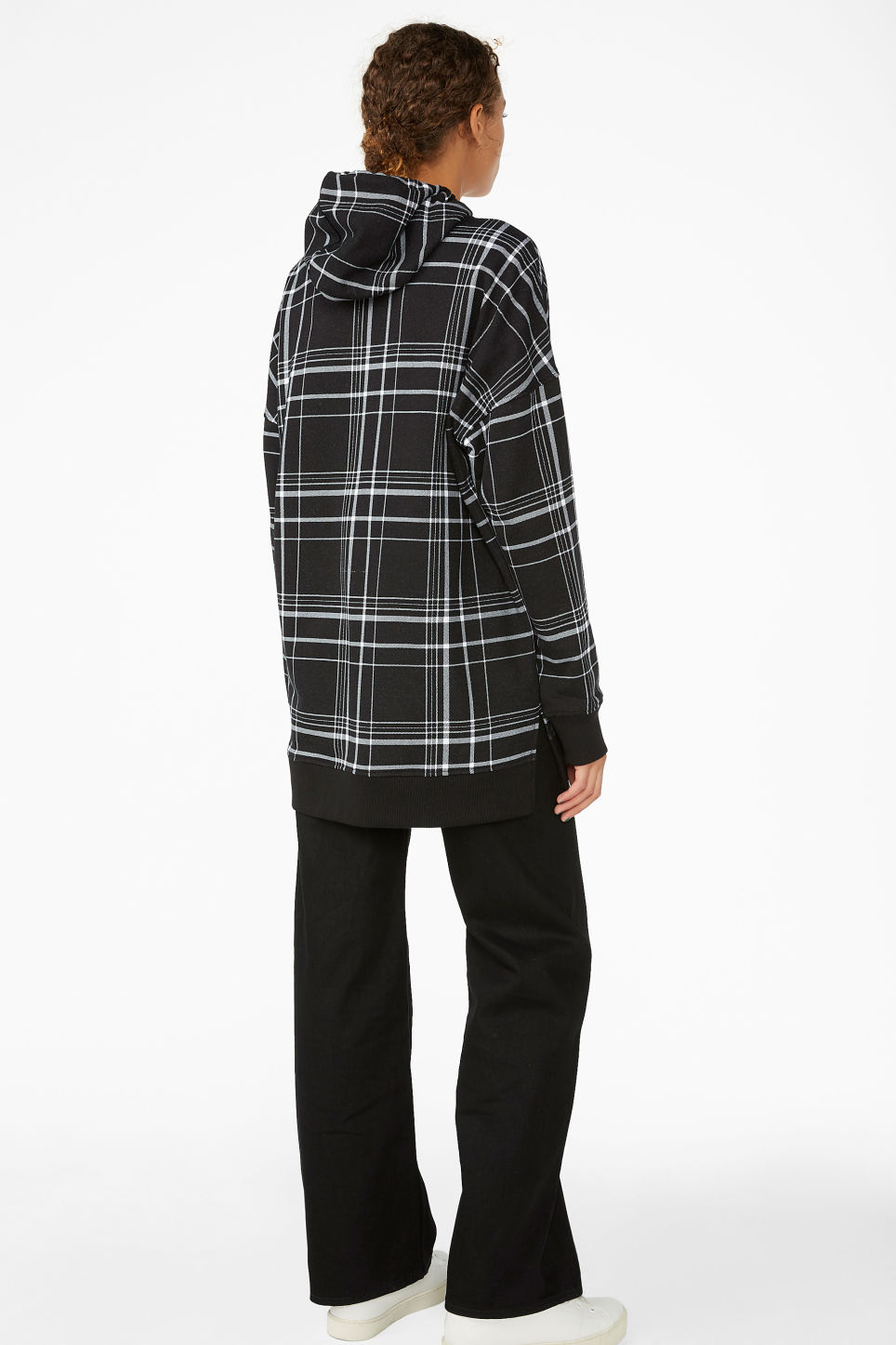 Model back image of Monki checked hoodie in black