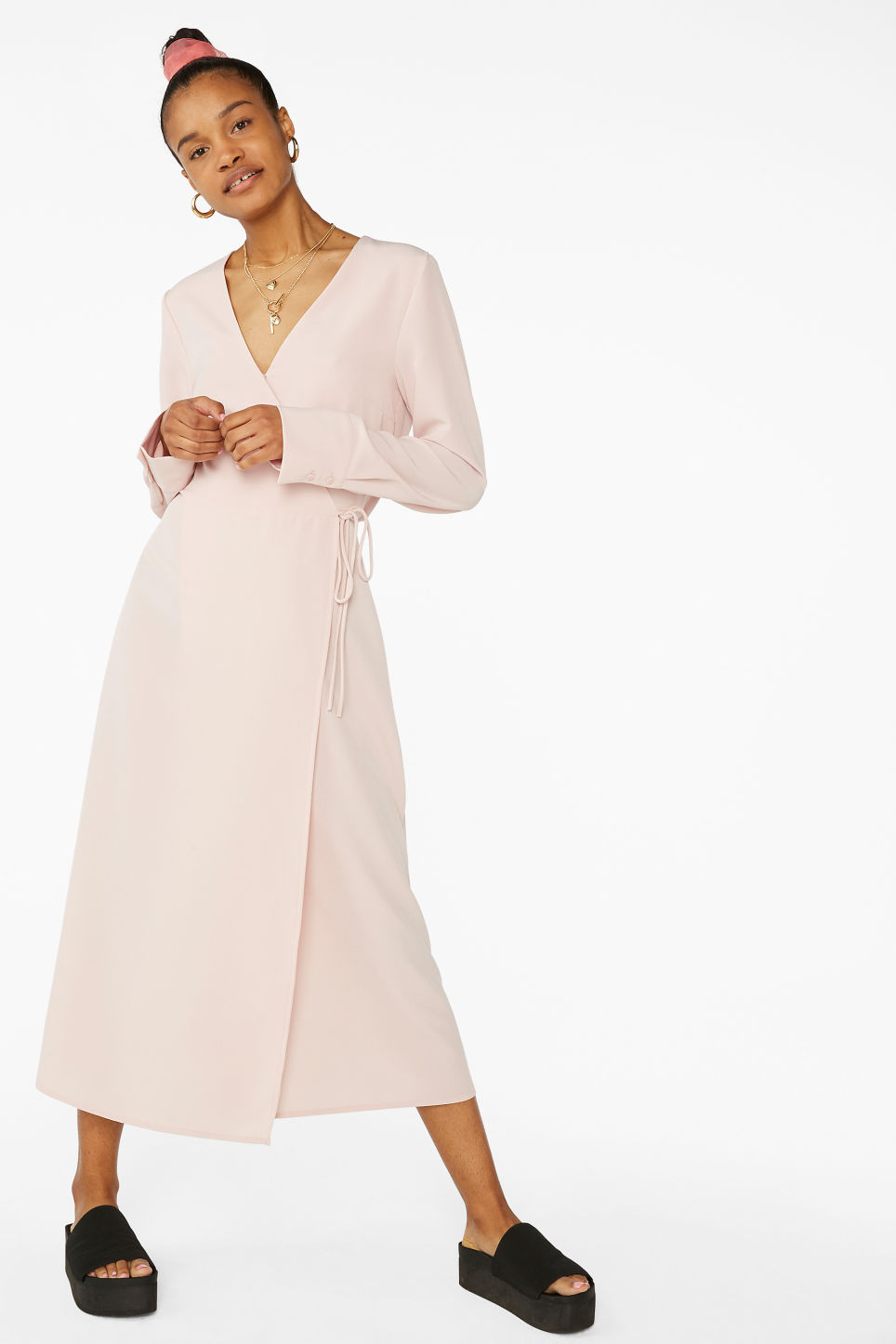 Model front image of Monki long wrap dress in pink