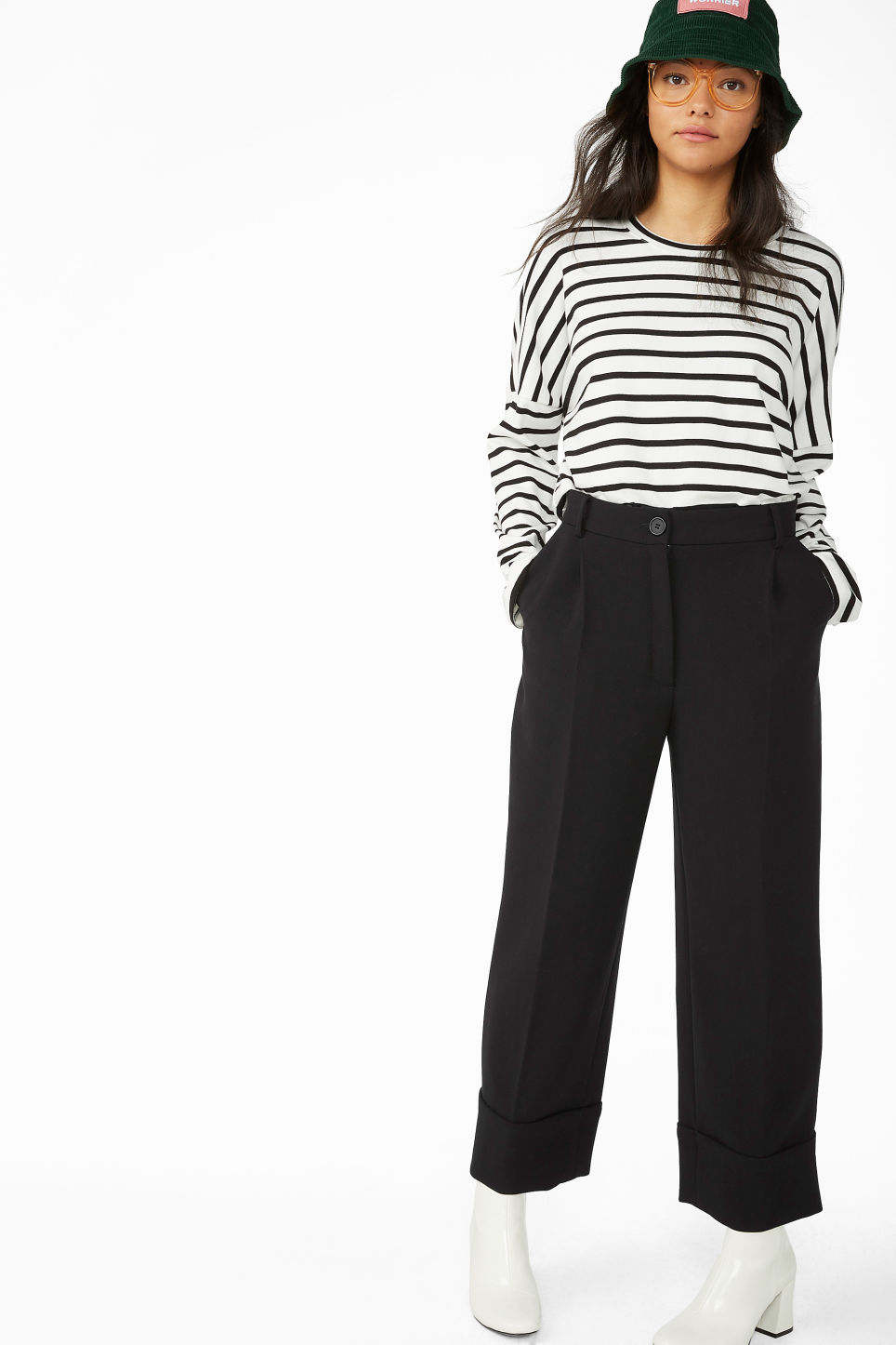 Model front image of Monki creased trousers in black