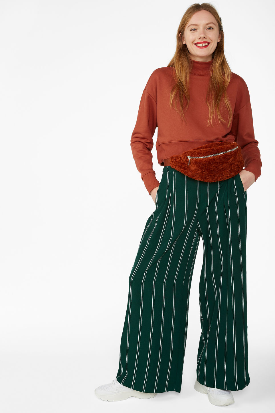 Model front image of Monki wide flowy trousers in green