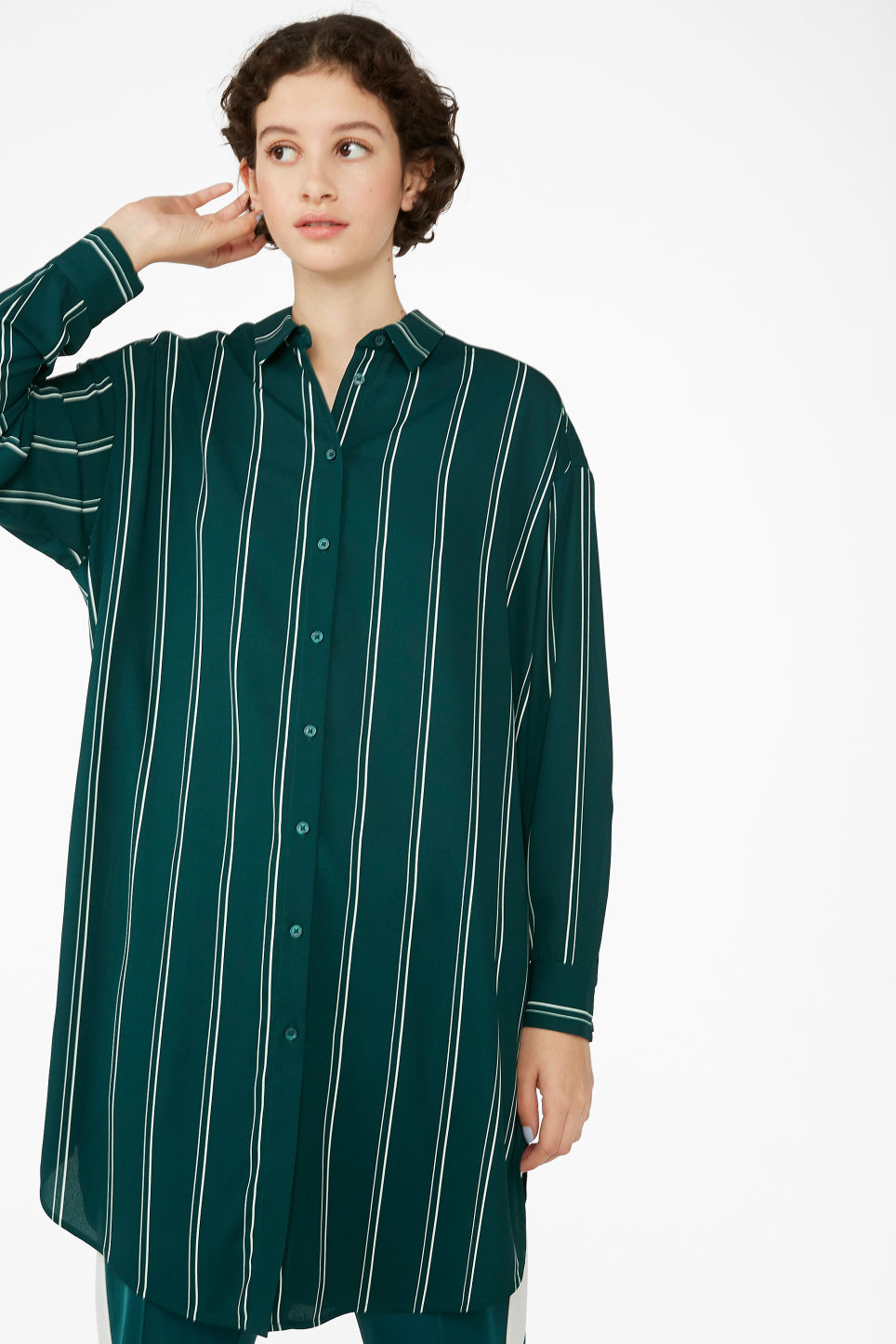 Model front image of Monki long oversized blouse in green