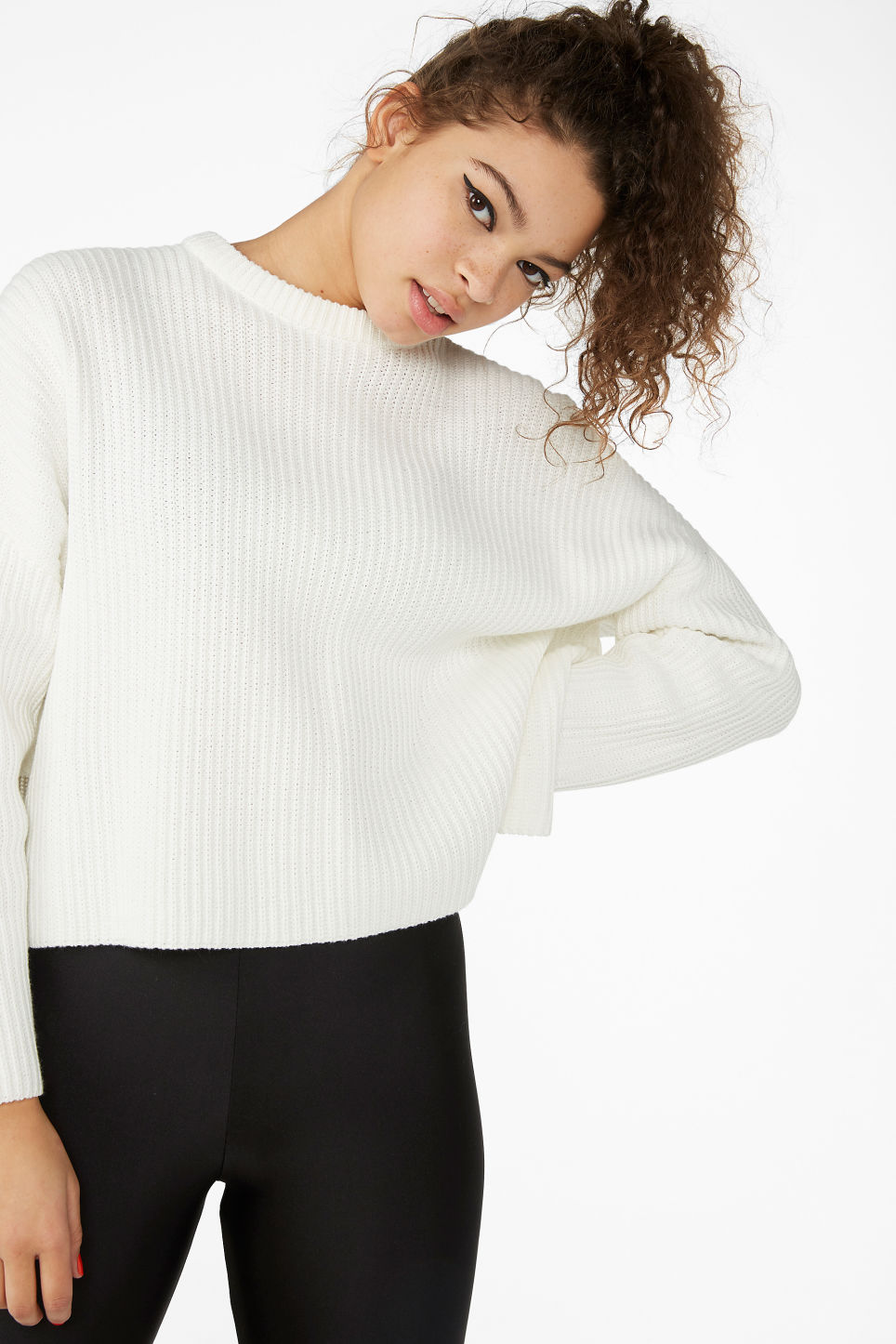 Model front image of Monki ribbed oversized sweater in white