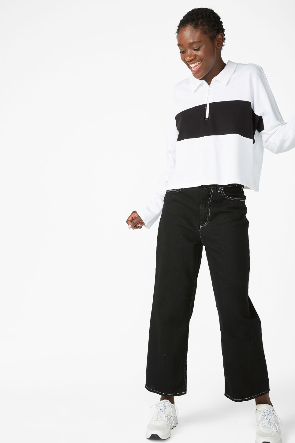 Model front image of Monki spread collar polo in white