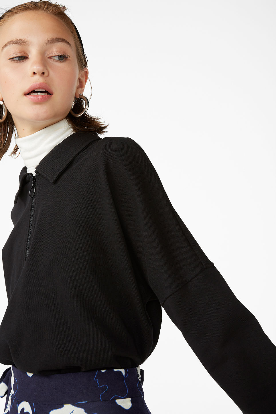 Model front image of Monki spread collar polo in black