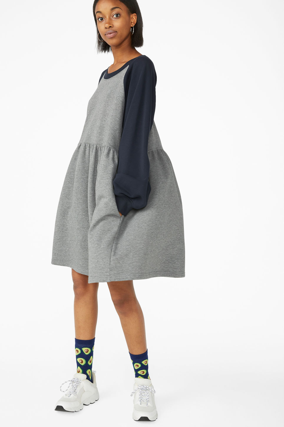 Model front image of Monki sweatshirt dress in blue