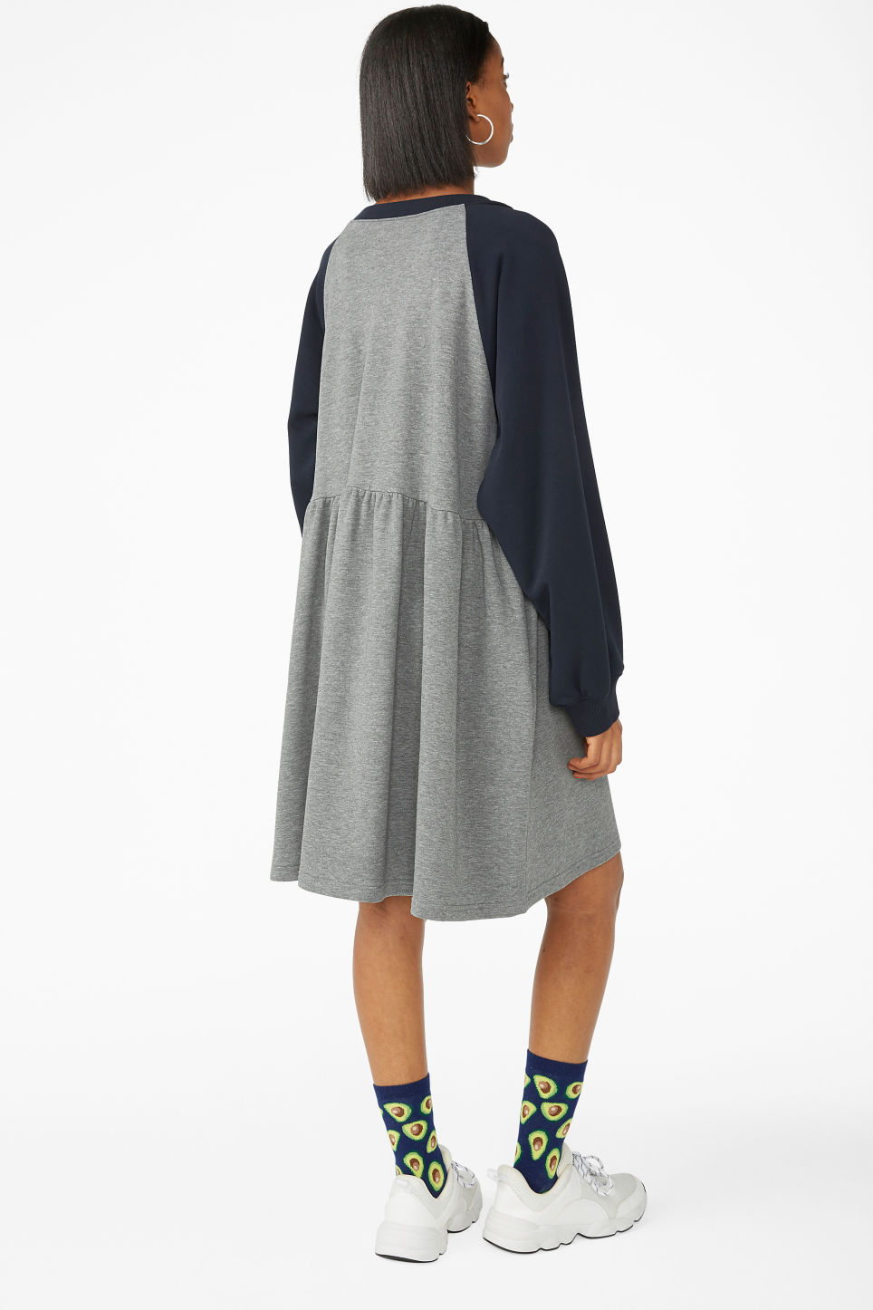 Model back image of Monki sweatshirt dress in blue