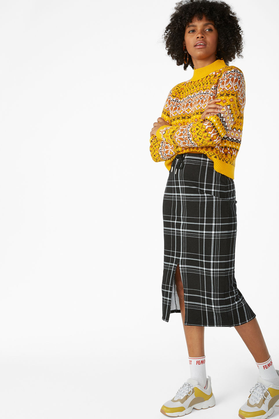 Model front image of Monki checked drawstring skirt in black