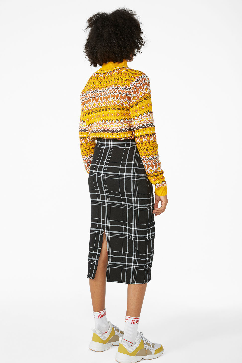 Model back image of Monki checked drawstring skirt in black