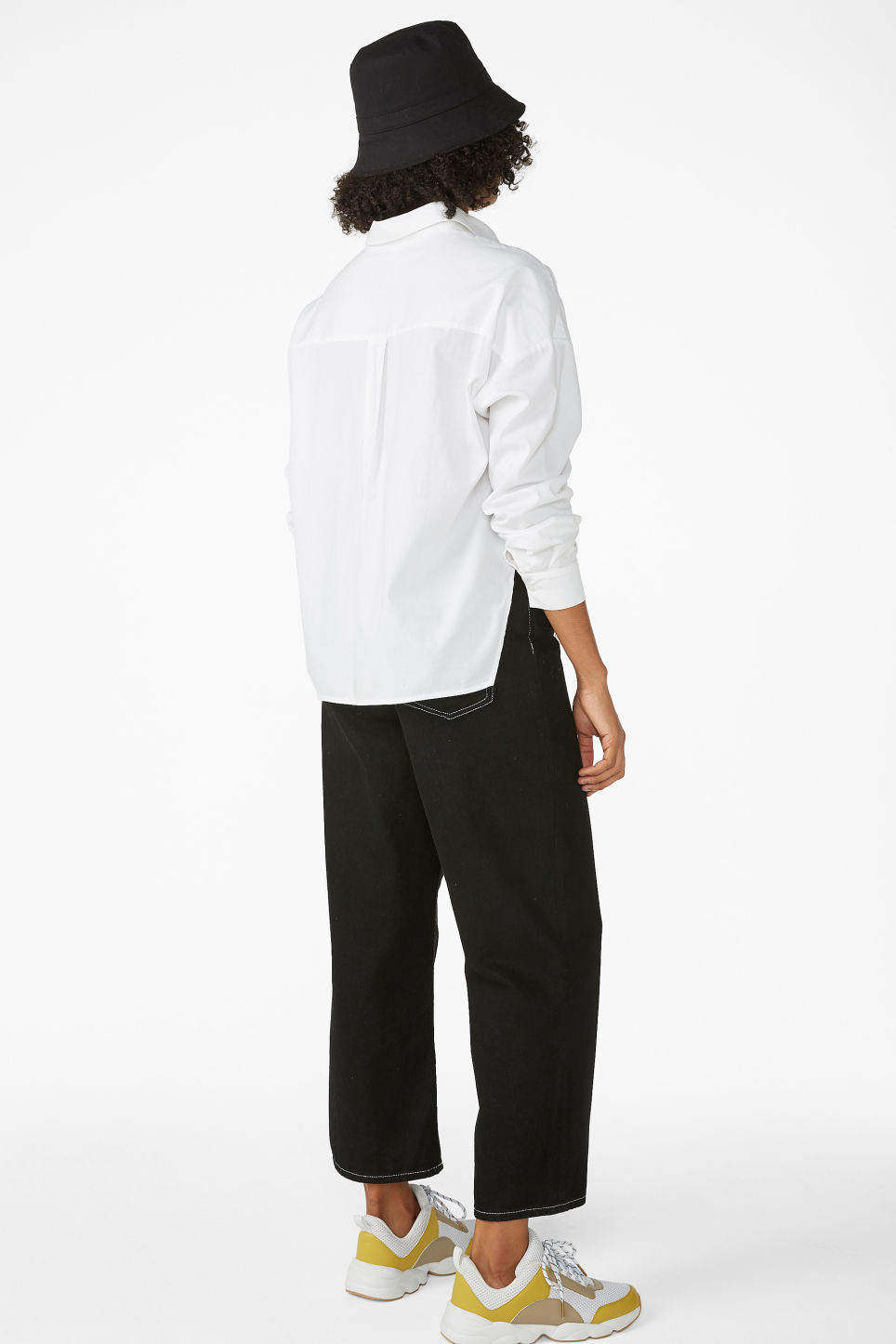 Model back image of Monki button-up shirt in white