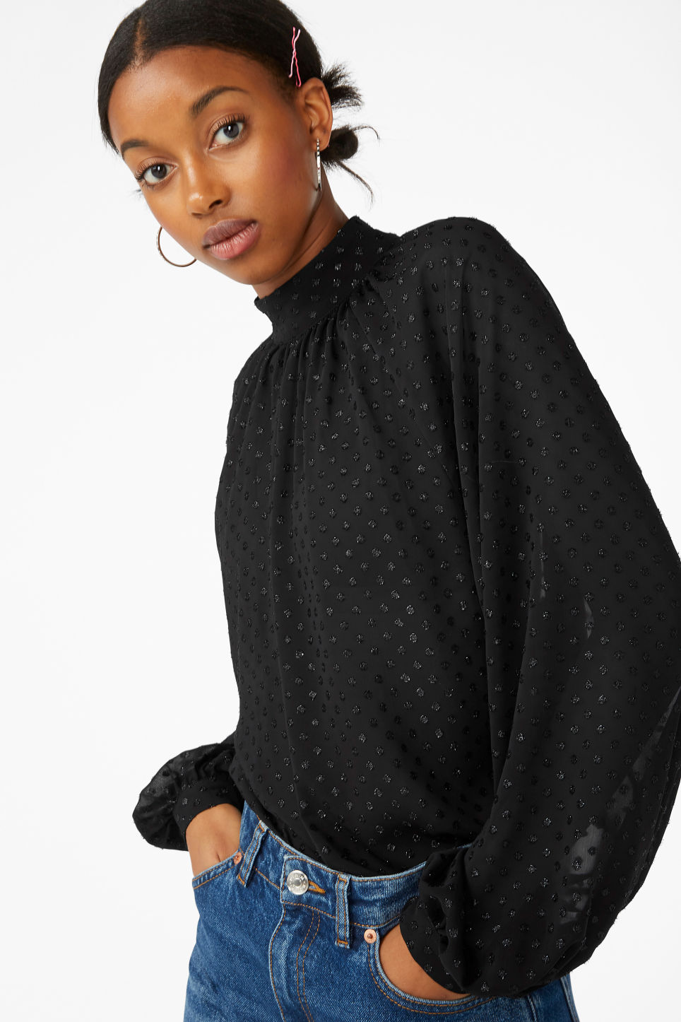 Model front image of Monki pleated neckline blouse in black