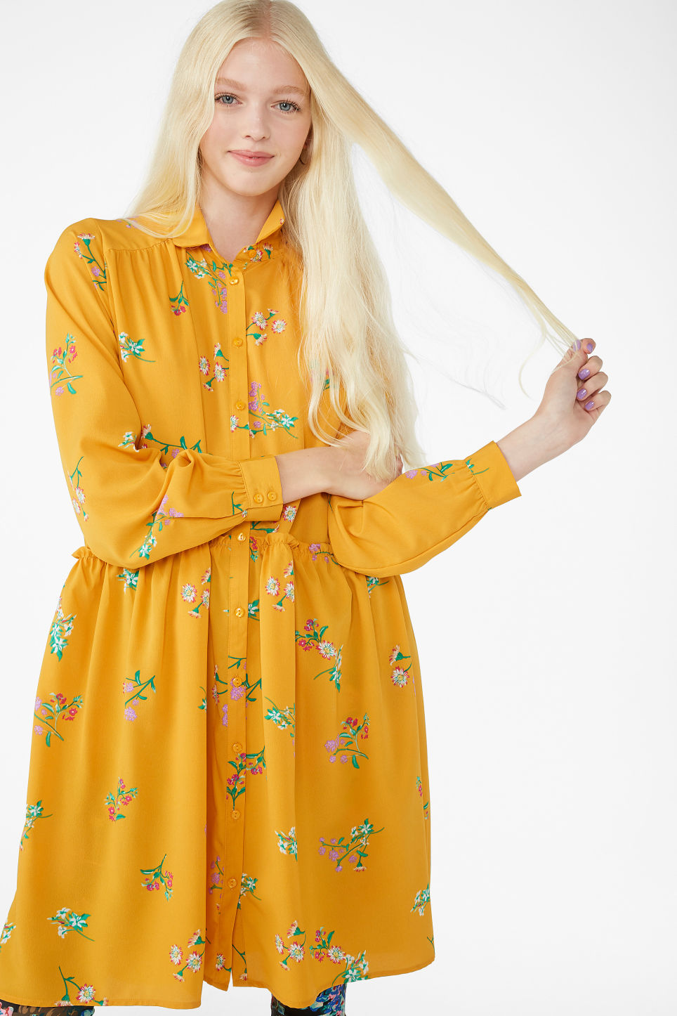 Model front image of Monki ruffle waist dress in yellow