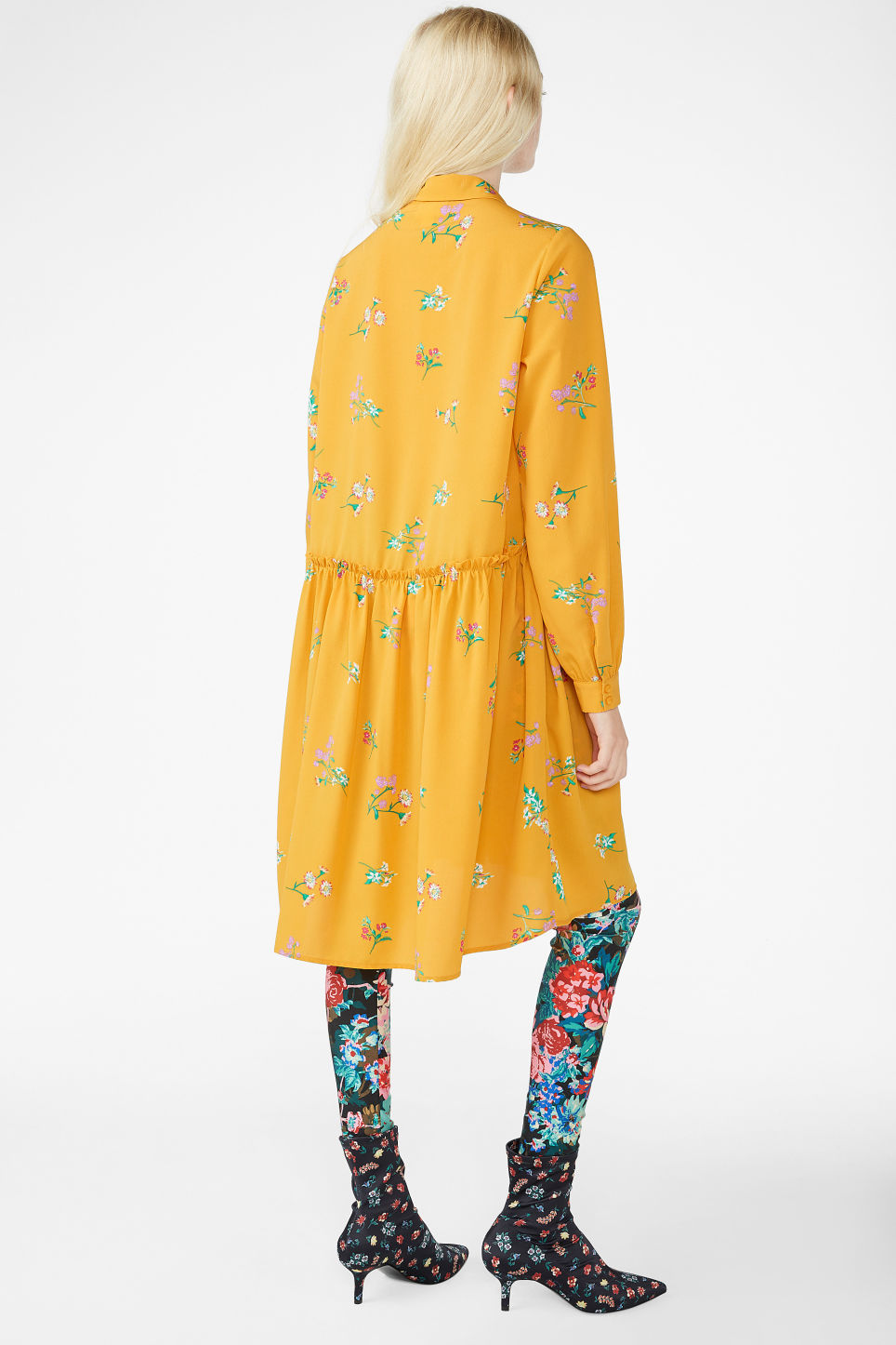 Model back image of Monki ruffle waist dress in yellow
