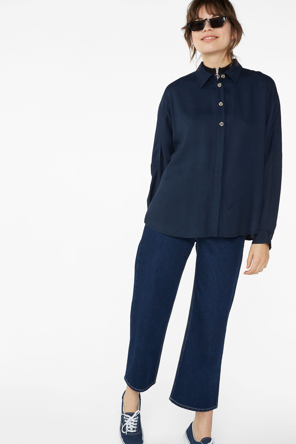 Model front image of Monki flowy button-up blouse in blue