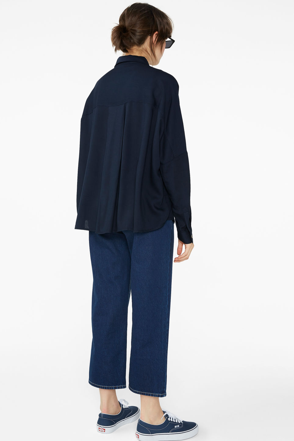 Model back image of Monki flowy button-up blouse in blue