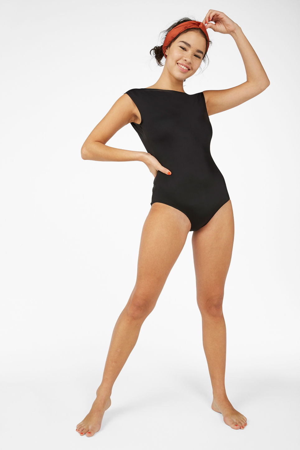 Model front image of Monki tank top swimsuit in black