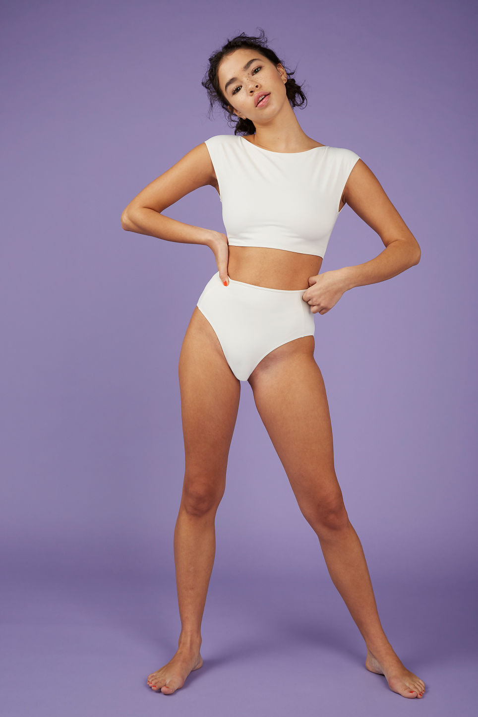 Model front image of Monki tank top bikini  in white