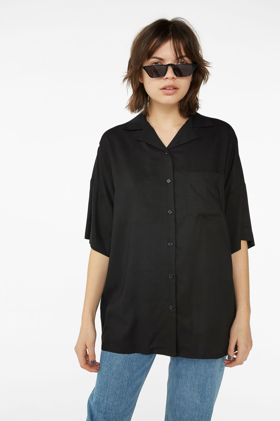 Model front image of Monki open collar blouse in black