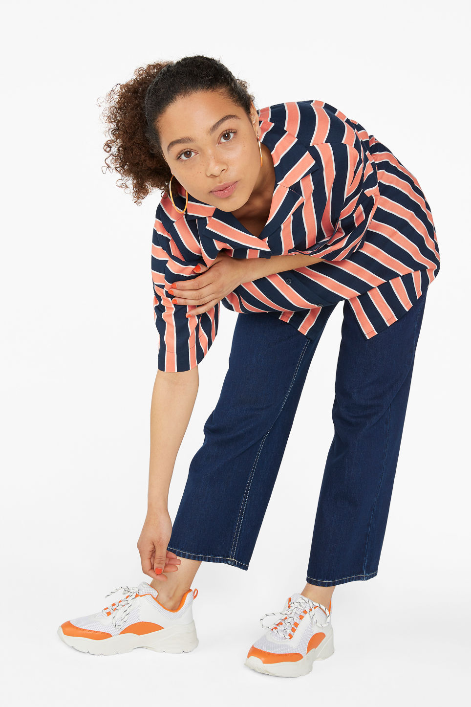 Model front image of Monki open collar blouse in blue