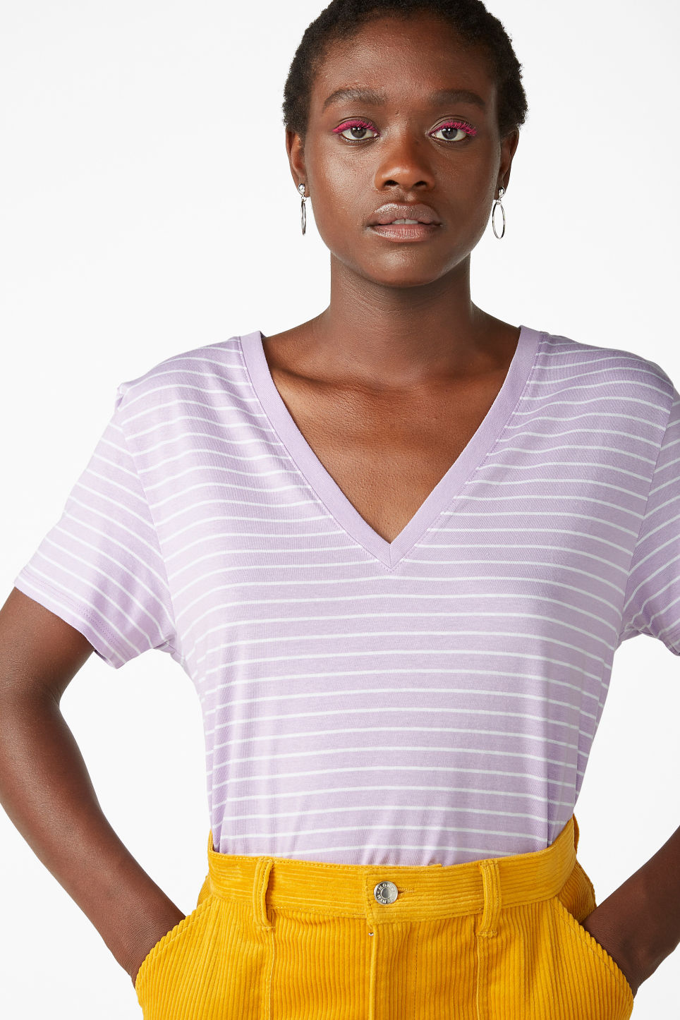 Model front image of Monki v-necked tee in purple