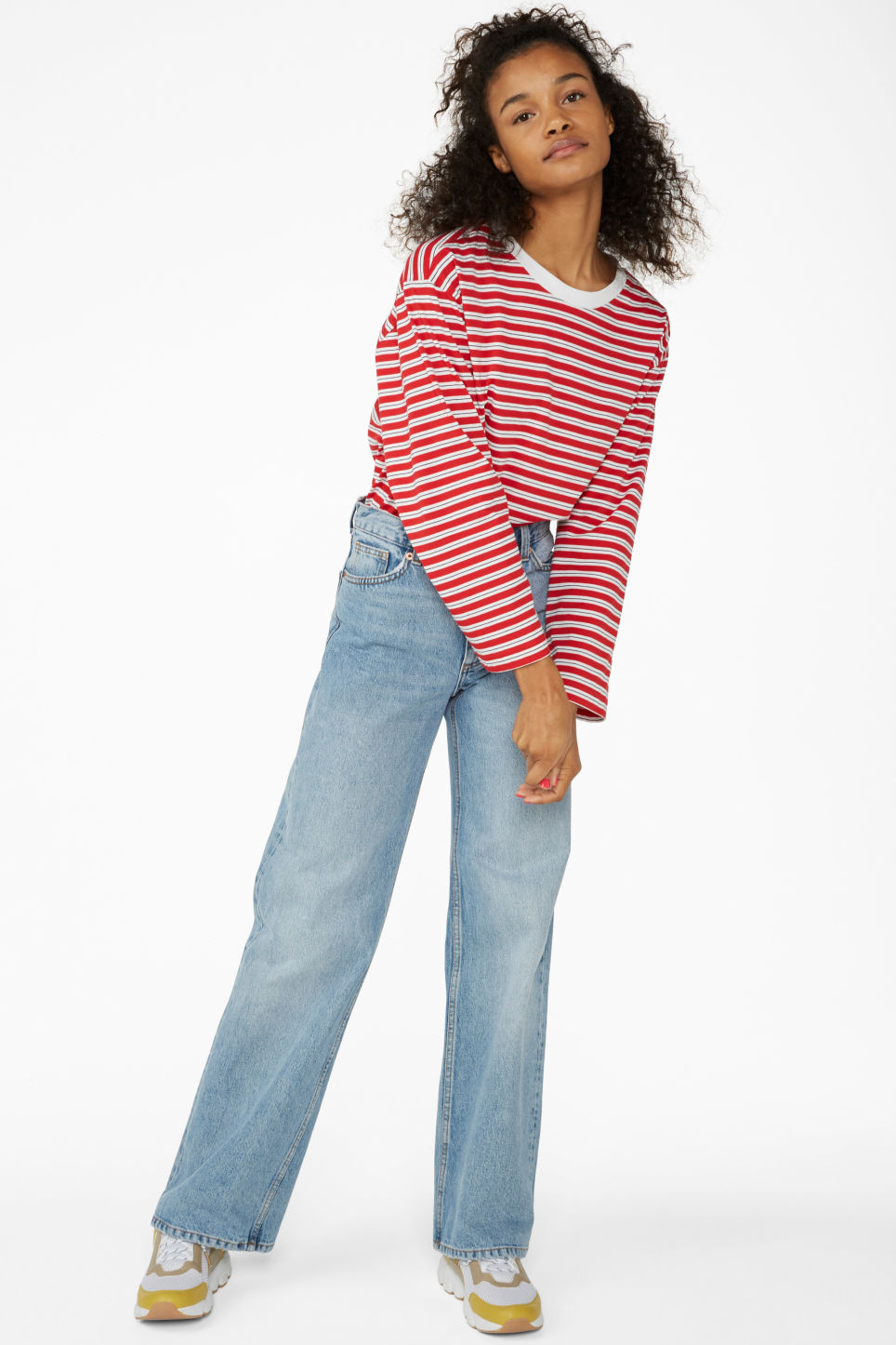 Model side image of Monki long-sleeved top in red