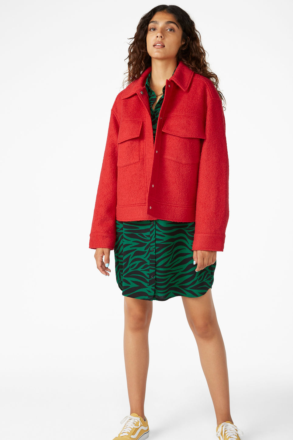Model front image of Monki utility jacket in red
