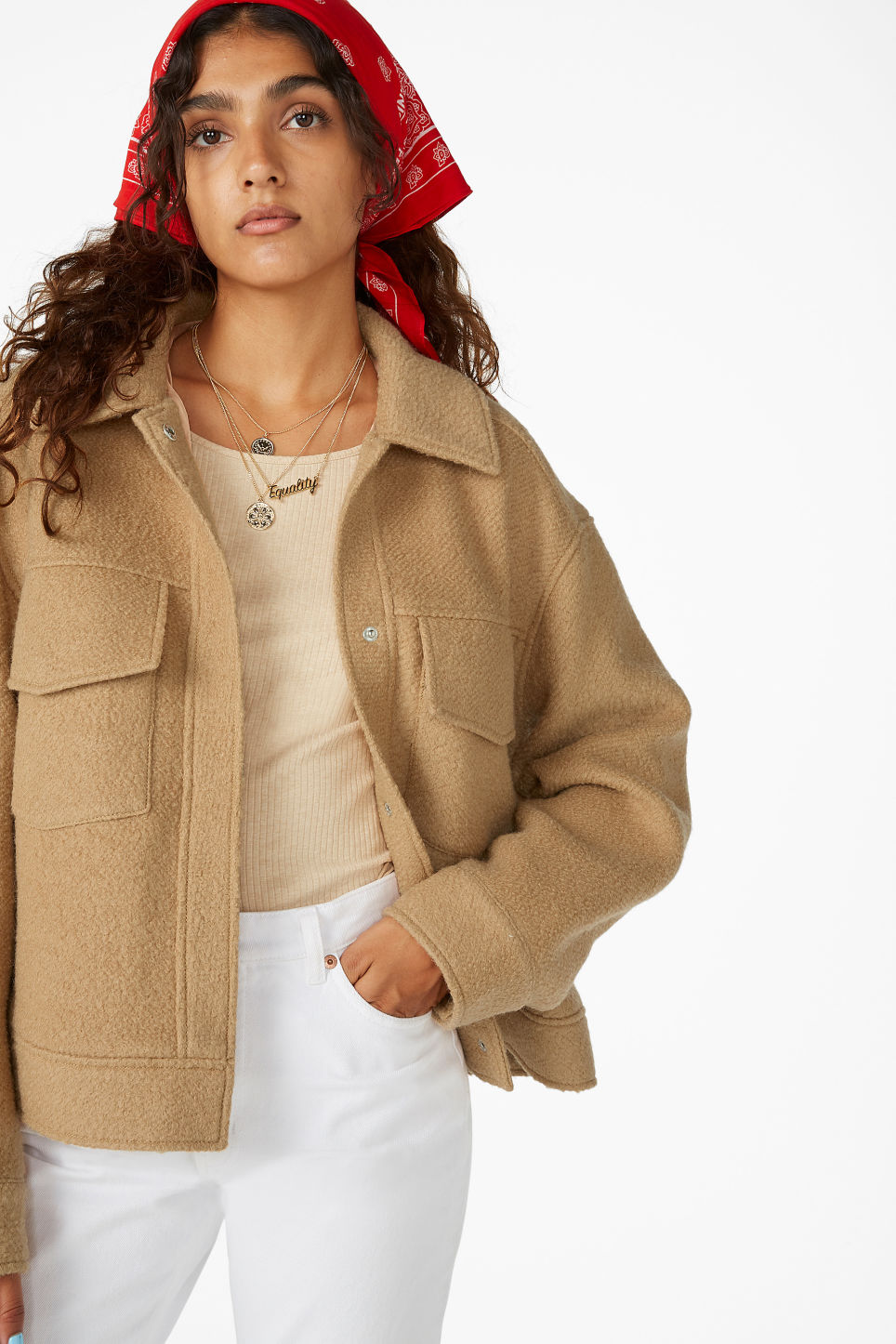 Model front image of Monki utility jacket in beige