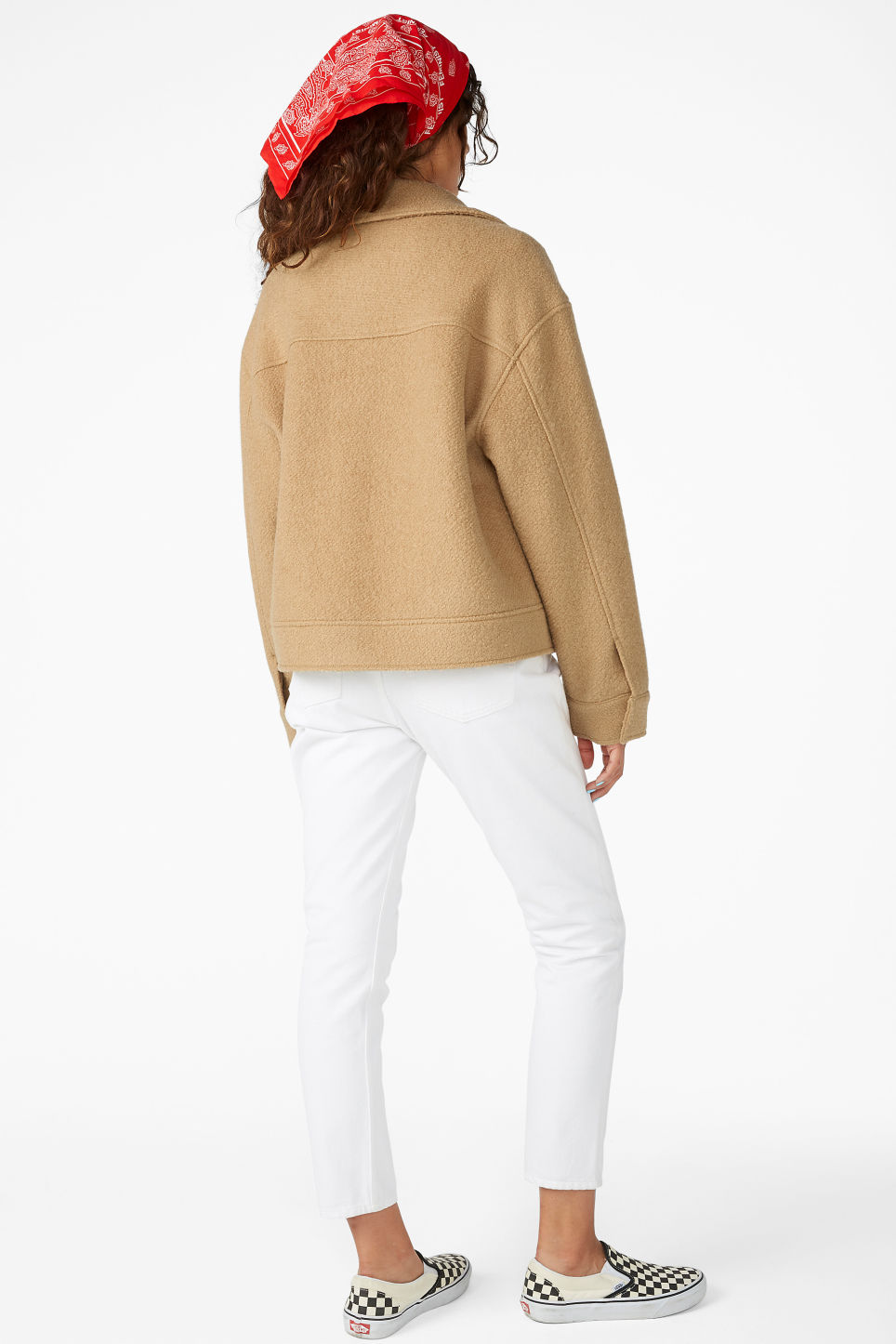 Model back image of Monki utility jacket in beige