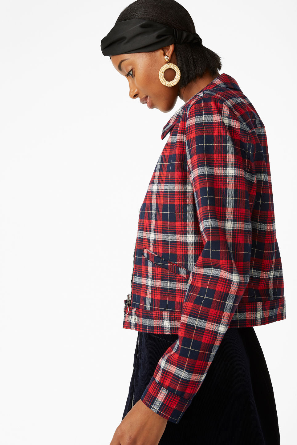 Model front image of Monki short jacket in red