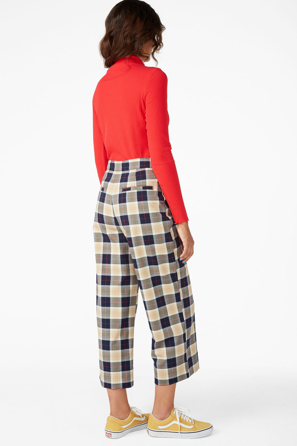 Model back image of Monki straight leg trousers in blue