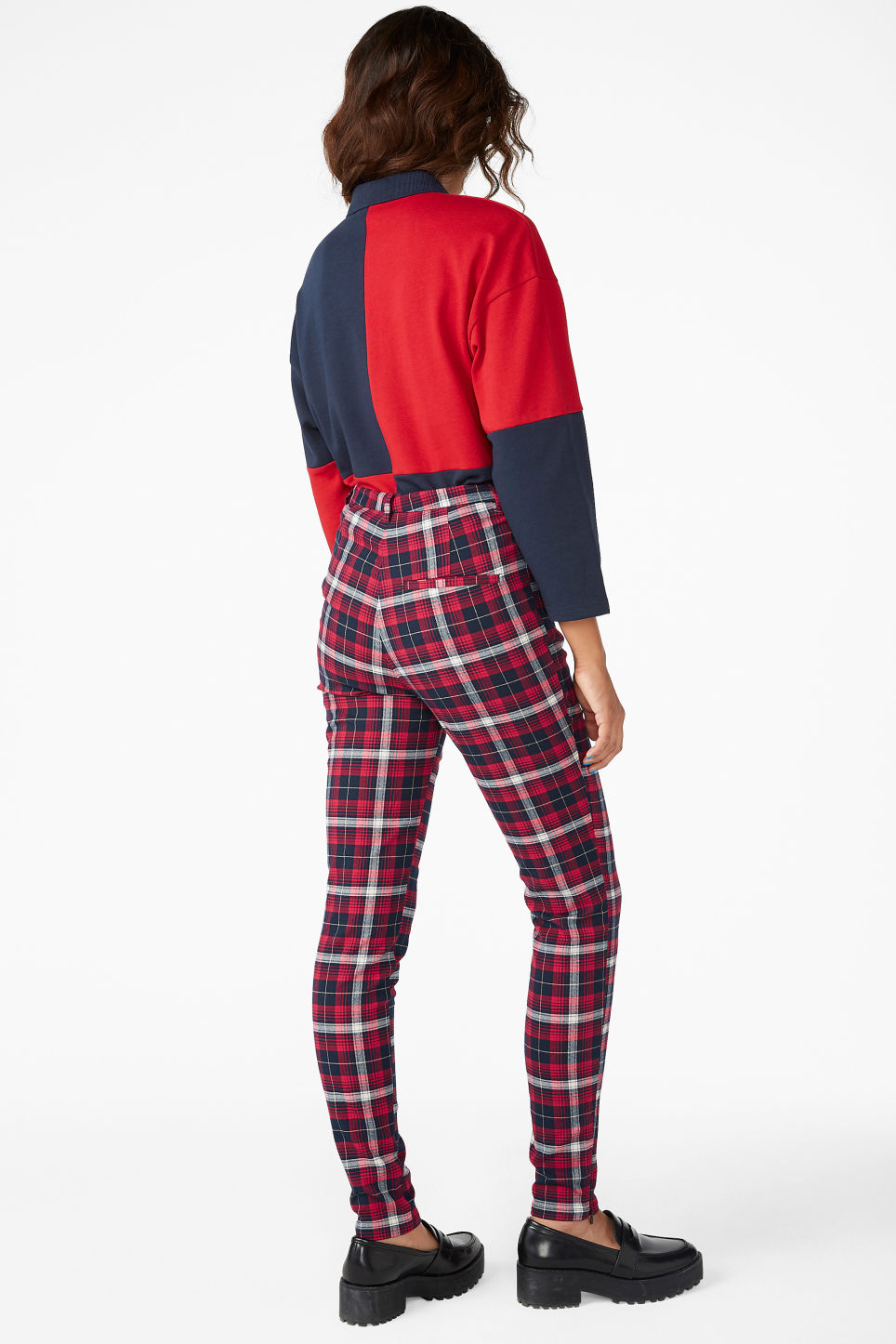 Model back image of Monki tailored trousers in red