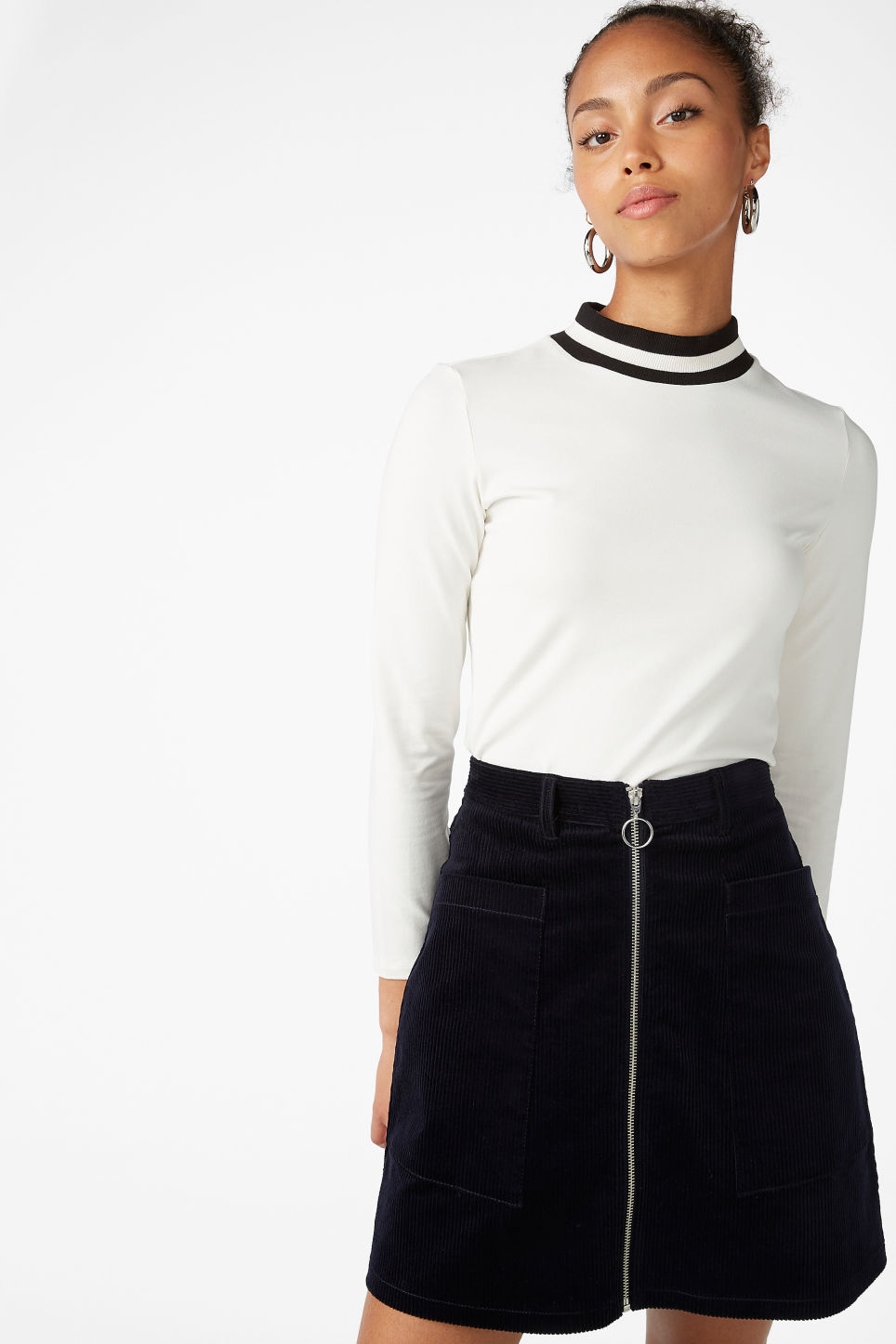 Model front image of Monki preppy a-line skirt in blue