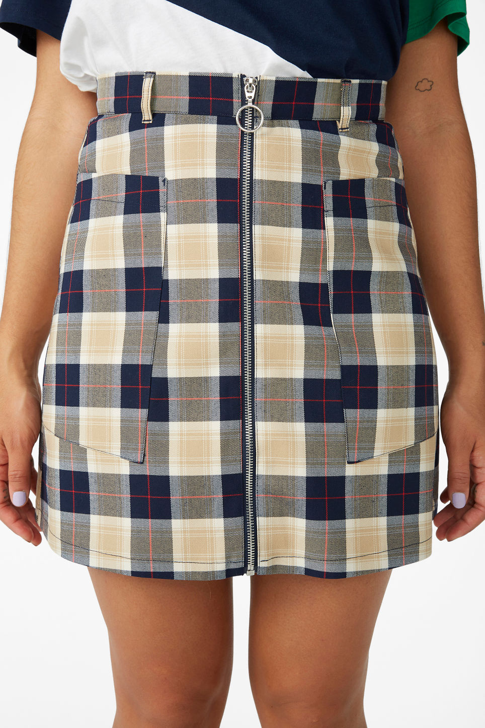 Model side image of Monki preppy a-line skirt in blue