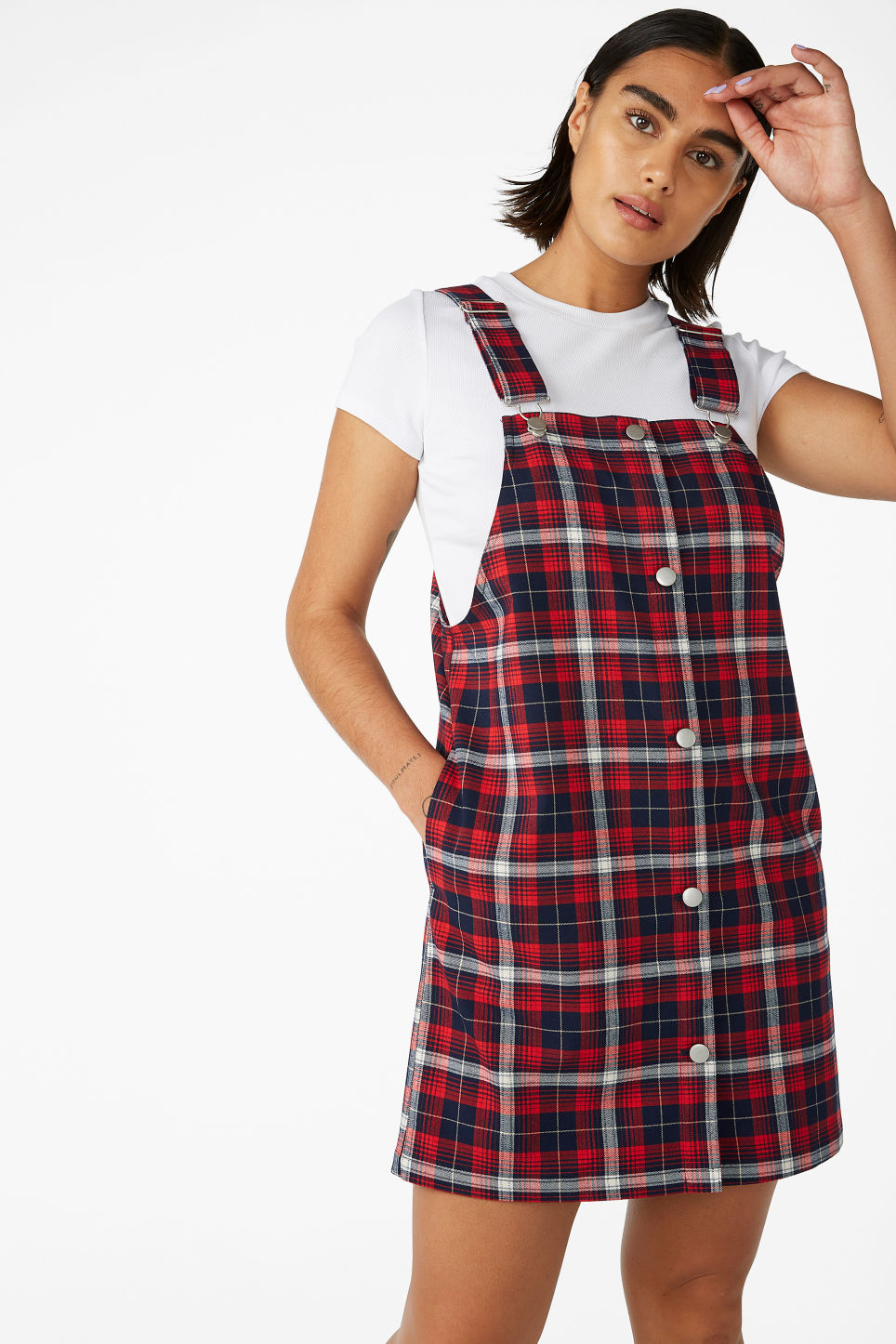 Model front image of Monki preppy pinafore dress in red