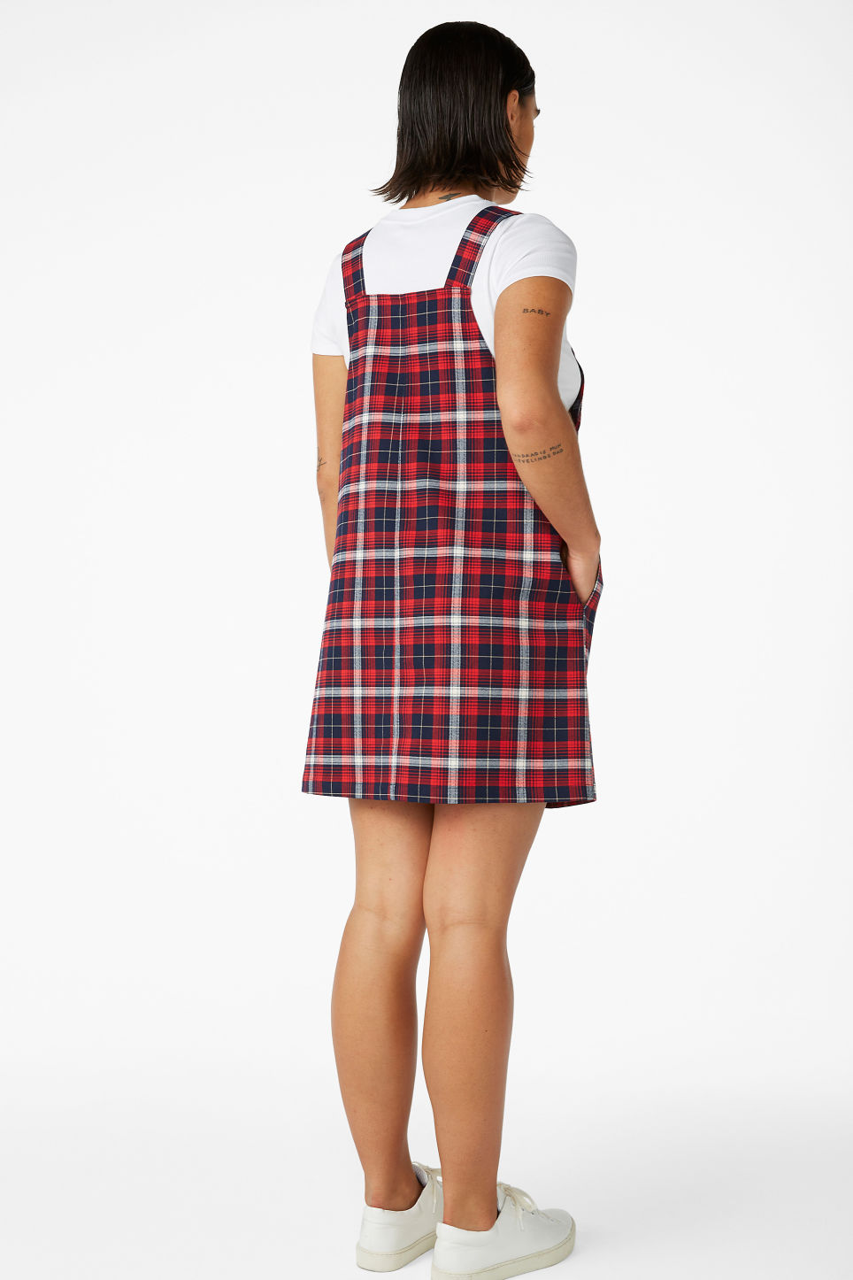 Model back image of Monki preppy pinafore dress in red