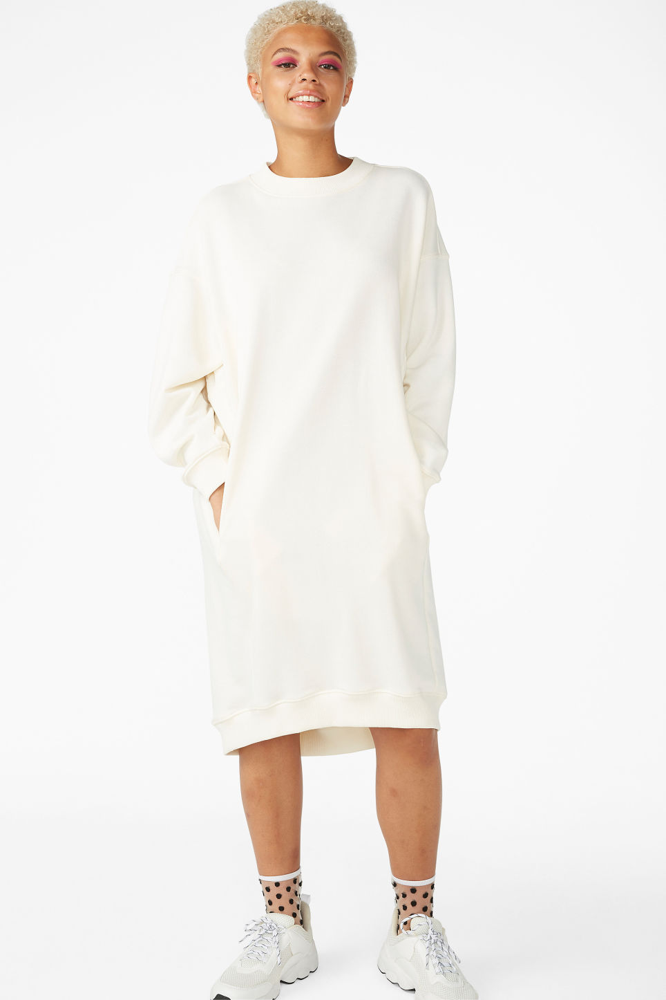 Model front image of Monki classic sweatshirt dress in white