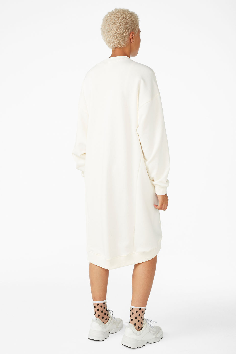 Model back image of Monki classic sweatshirt dress in white