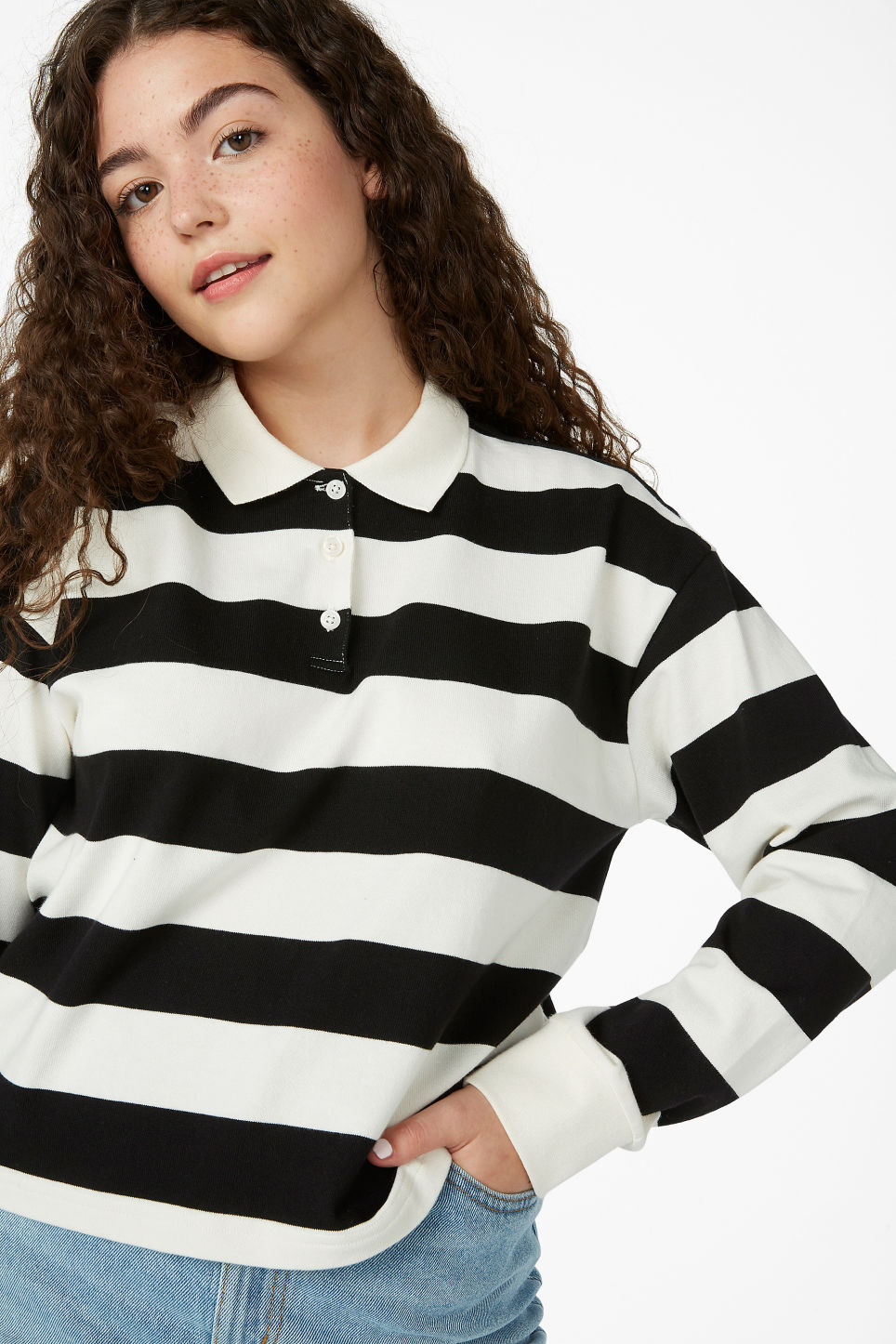 Model front image of Monki striped polo shirt in black