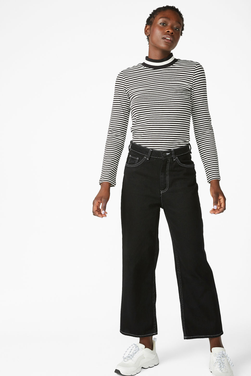 Model front image of Monki long-sleeved sporty top in black