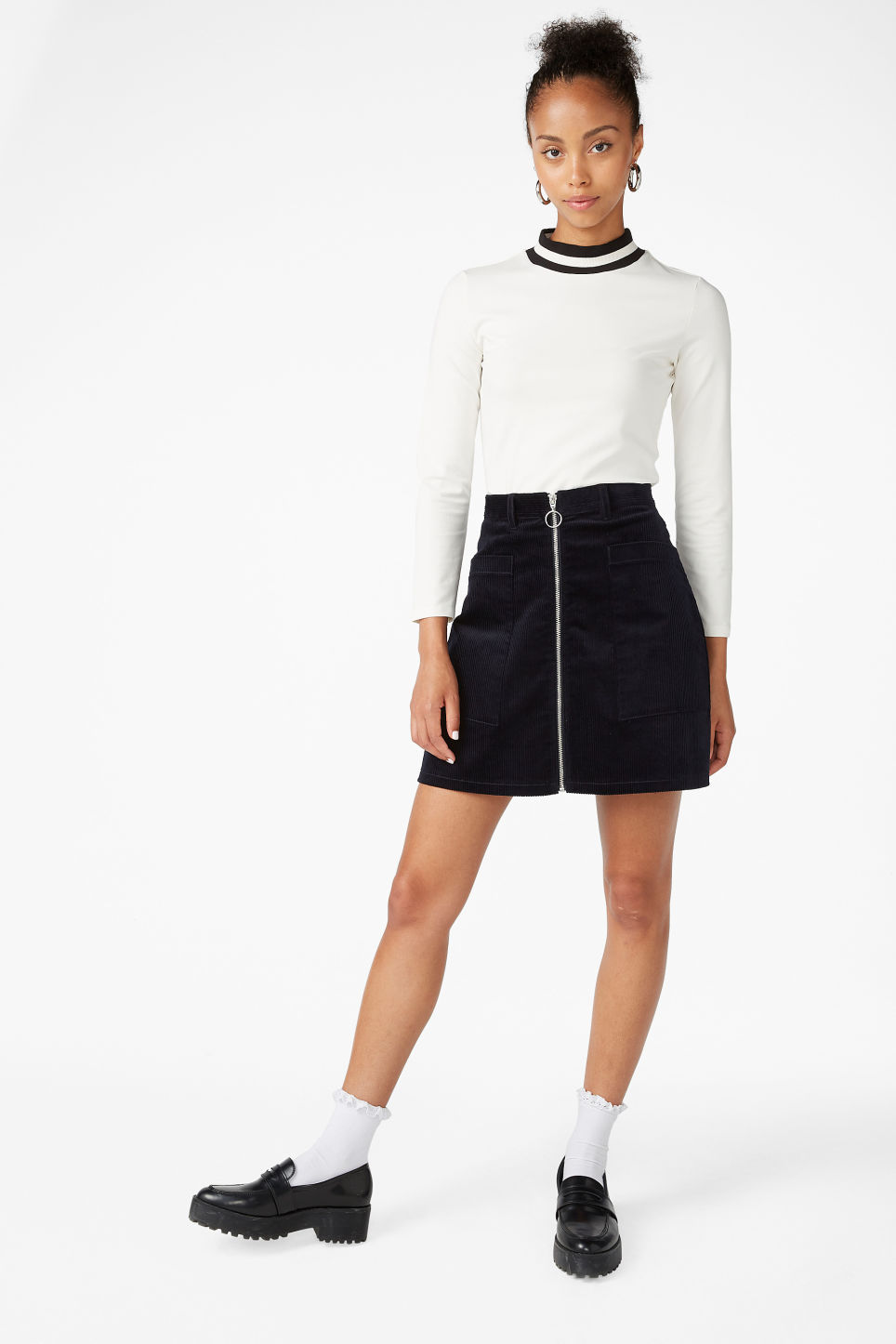 Model front image of Monki long-sleeved sporty top in white