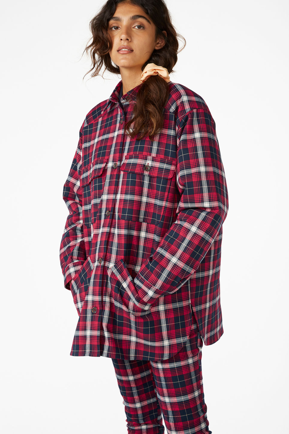 Model front image of Monki padded overshirt  in red