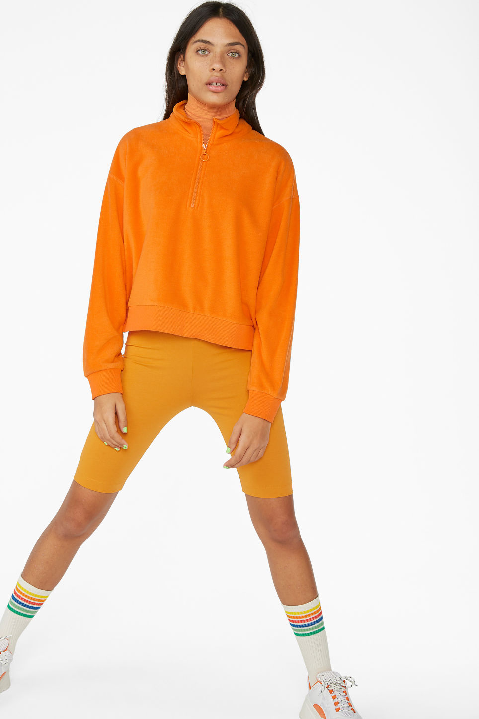 Model front image of Monki fleece zip sweater in orange