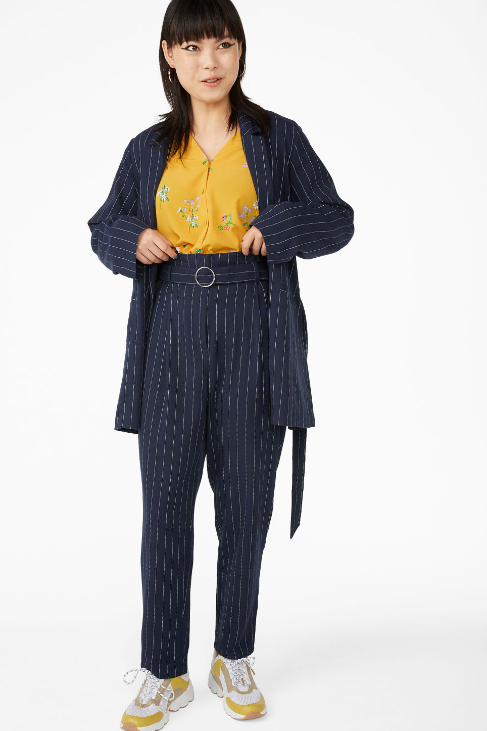 Model front image of Monki belted blazer in blue